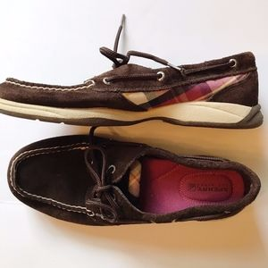 Sperry Topsider Boat Deck  8.5 Plaid Brown Suede